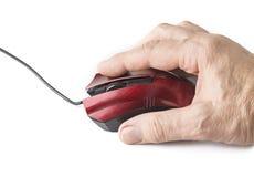 与USB电缆接线的计算机老鼠在白色背景 图库摄影