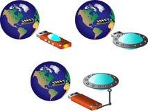 与USB端口的地球 库存照片