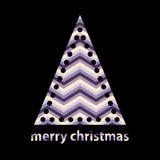 与V形臂章之字形的简单的概述圣诞树 免版税库存照片