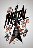 与v样式电镀物品吉他的减速火箭的样式金属费斯特海报设计 免版税库存图片