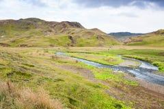 与Varma河的绿色山谷在Hveragerdi 免版税图库摄影