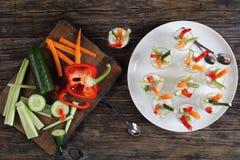 与vegerables的Verrines开胃菜在射击 库存照片