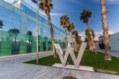 与W旅馆商标的步行车道 库存照片