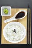 与wasabi和筷子的米 免版税图库摄影