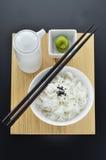 与wasabi和筷子的米 免版税库存照片