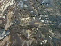 与wat位沙子和水坑的破裂的被风化的熔岩岩石  库存照片