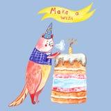 与wcute猫和生日蛋糕的水彩手拉的生日快乐贺卡 库存图片