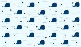 与whaleslife的逗人喜爱的无缝的样式在蓝色背景中 向量例证
