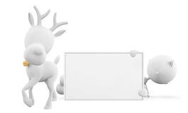 与whiteboard的驯鹿 库存图片