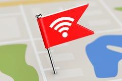 与Wi-Fi象的红旗在地图背景 3d翻译 免版税库存图片