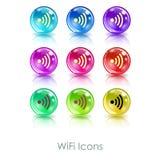 与wifi标志app象的颜色球 有用为Wi-Fi咖啡馆、无线互联网区域、终端等等 库存图片