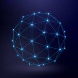 与wireframe连接圈子图表的未来派技术传染媒介背景 免版税库存图片