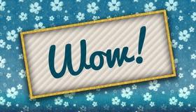 与WOW消息的绘画在与花的蓝色墙纸 免版税图库摄影