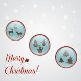 与Xmas按钮的圣诞卡 免版税库存照片