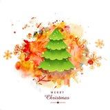 与Xmas树的圣诞快乐庆祝 库存例证