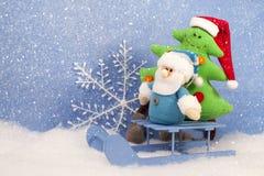 与xmas树的圣诞节圣诞老人 库存照片