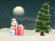 与Xmas树的逗人喜爱的雪人圣诞节庆祝的 库存例证