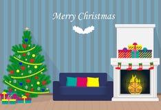 与xmas树,壁炉,沙发,花圈,礼物盒的圣诞节内部,有词的圣诞快乐 平的样式illustra 向量例证