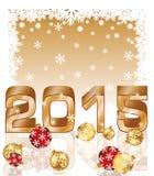 与xmas球的新的2015年明信片 免版税库存图片