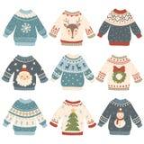 丑恶圣诞节的毛线衣 动画片逗人喜爱的羊毛套头衫 有滑稽的雪人、圣诞老人和Xmas的被编织的寒假毛线衣 皇族释放例证