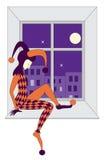 丑角哀伤的休眠窗台 免版税图库摄影