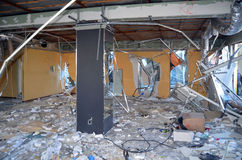 专业乌克兰爱国者自毁和掠夺的小企业 库存照片