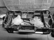 专业修造的工具的大箱子 免版税库存图片