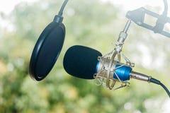 专业冷凝器演播室话筒,音乐概念 库存图片
