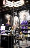专业化妆用品立场在陈列波罗地Beauti的 免版税库存照片