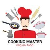 专业厨师厨师传染媒介象:餐馆,烹调,工具 免版税图库摄影