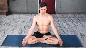 专业在莲花坐的信奉瑜伽者人实践的瑜伽在席子全景 股票录像