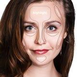 专业塑造外形的面孔构成 库存照片
