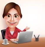 专业女实业家或秘书Vector在办公桌的Character Working有膝上型计算机的 库存照片