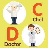 专业字符厨师和医生的以图例解释者 免版税库存照片