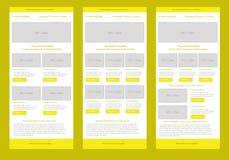 专业平的样式时事通讯黄色模板 库存图片