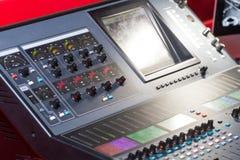 专业控制台声音混合 免版税图库摄影