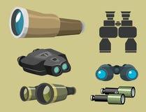 专业摄象机镜头双筒望远镜玻璃神色看见小望远镜光学设备照相机数字式焦点光学设备传染媒介 库存照片
