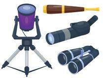 专业摄象机镜头双筒望远镜玻璃神色看见小望远镜光学设备照相机数字式焦点光学设备传染媒介 免版税库存照片
