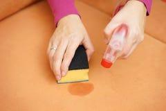 专业擦净剂清洗在沙发的污点与浪花瓶 免版税图库摄影