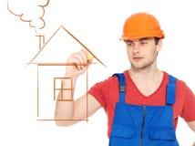 专业杂物工图画房子 免版税库存照片