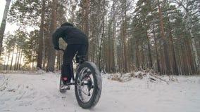 专业极端运动员骑自行车的人坐在室外的一辆肥胖自行车 骑自行车者在冬天雪森林人斜倚走与 股票录像