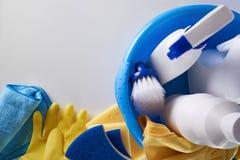 专业清洁设备背景顶视图 免版税图库摄影