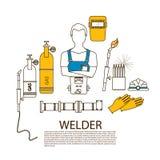专业焊工焊接工具和设备剪影 库存照片