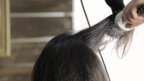专业美发师做称呼为美丽的女性客户和使用的吹风器的头发有梳子的 股票录像