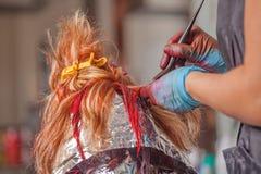 专业美发师工作与客户 免版税库存照片