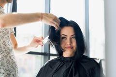 专业美发师,梳女性客户的头发的专业发廊的美发师 秀丽和haircare概念 免版税库存照片