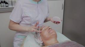 专业美容师应用防护奶油于年长妇女在美容院里 股票视频