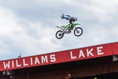 专业自由式摩托车越野赛队员执行在观众上的特技上流 免版税图库摄影