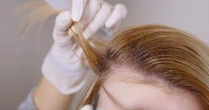专业治疗 客户在椅子坐,当她的保重的头发专业时 股票录像