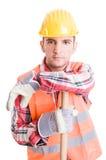 专业建筑工人休息 库存照片
